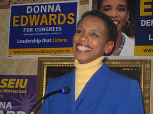Donna Edwards - Edwards at her victory rally on February 13, 2008