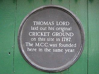 Lord's Old Ground - Commemorative plaque in Dorset Square