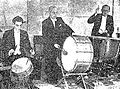Dov Ginzburg, Israel Segal and L. Gruenwald playing percussion in the Israel Philharmonic Orchestra.jpg