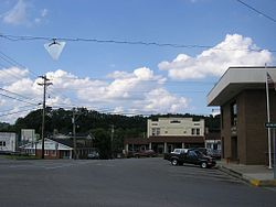 Central Booneville, with the courthouse to the right