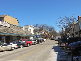 Naperville, Illinois - Jefferson Avenue in downtown Naperville.