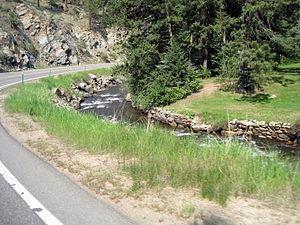Colorado State Highway 74 - SH 74 winding along Bear Creek in Idledale