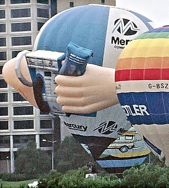 "Mercury Communications - Promotional Mercury Communications hot air balloon featuring inflatable ""payphone"", as seen in 1994."