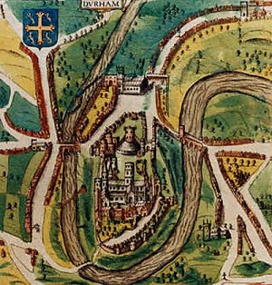 Durham, England - A map of the city from 1610