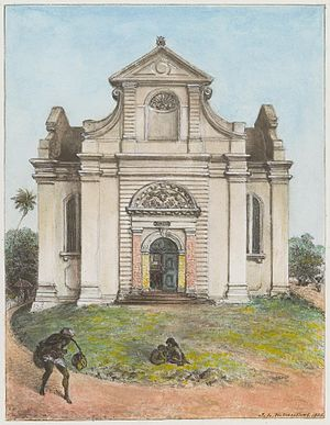 Wolvendaal Church - Watercolour painting of the Dutch Reformed Church (Wolvendaal), Colombo by J. L. K. van Dort (1888)