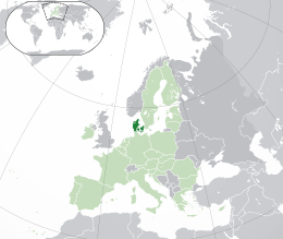 Location of  Denmark[b]  (dark green)– in Europe  (green & dark grey)– in the European Union  (green)  -  [Legend]