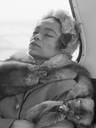 Eartha Kitt - Kitt asleep on a bus, 1962