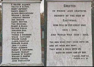 Eastwood, Nottinghamshire - Inscription on War Memorial
