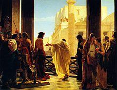Понтий Пилат и пленённый Иисус перед толпой евреев. Картина Чизери Антонио
