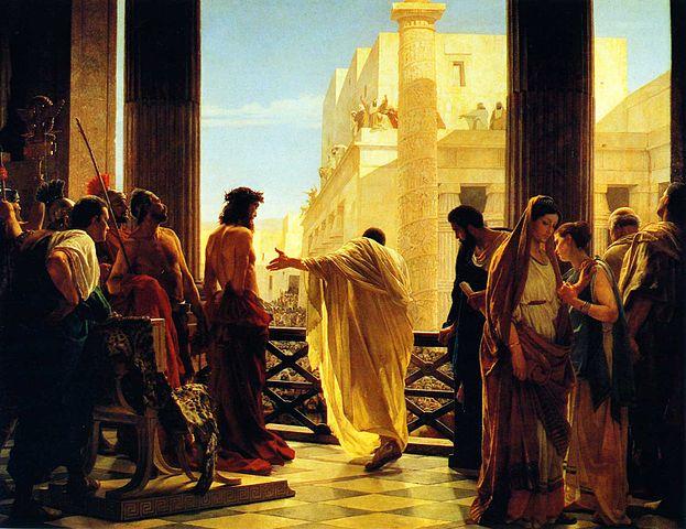 «Ecce Homo».  Пилат обращается к толпе иудеев, призывая помиловать Христа (Антонио Чизери, 1862)