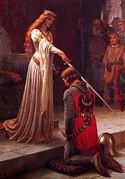 """Accolade"" by Edmund Blair Leighton. A red-headed princess knighting a noble fighter."