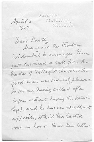 Edward Gwynn - Letter written by Edward Gwynn to his daughter in law, 1939