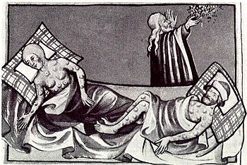 Egyptian plague of boils in the Toggenburg Bible (black and white)