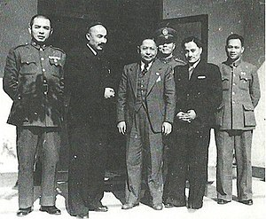 Second East Turkestan Republic - Ehmetjan Qasimi and Abdulkerim Abbas with Sun Fo, the son of Sun Yat-sen in Nanjing on November 24, 1946.