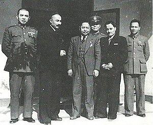 Second East Turkestan Republic - Ehmetjan Qasimi and Abdulkerim Abbas with Sun Fo, the son of Sun Yat-sen in Nanjing on November 24, 1946.