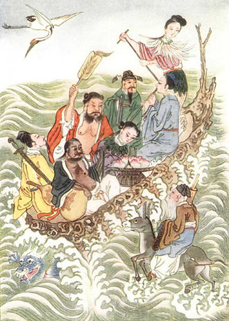 Eight Immortals - The Eight Immortals crossing the sea, from Myths and Legends of China. Clockwise in the boat starting from the stern: He Xian'gu, Han Xiang Zi, Lan Caihe, Li Tieguai, Lü Dongbin, Zhongli Quan, Cao Guojiu and outside the boat is Zhang Guo Lao.