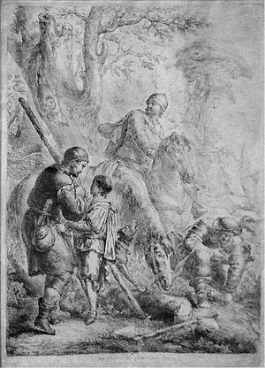 Kunz von Kaufungen - The Collier Defends the Saxon Prince against His Kidnapper, Kuntz von Kauffungen (engraving by Bernhard Rode, 1781)