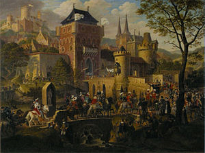 Heinrich Anton Dähling - State entry in an old city, 1822, now at the Alte Nationalgalerie in Berlin