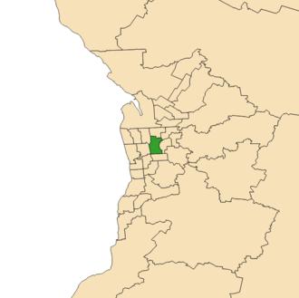 Electoral district of Adelaide - Electoral district of Adelaide (green) in the Greater Adelaide area