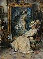 Elegante vrouw in atelier door Albert Roelofs.jpg