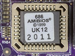 BIOS - American Megatrends BIOS 686. This BIOS chip is housed in a PLCC package in a socket.