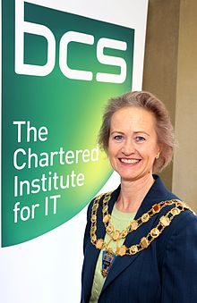 Elizabeth Sparrow with British Computer Society logo.JPG