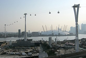 Emirates Air Line (cable car) - The three pylons, seen from north of the River Thames