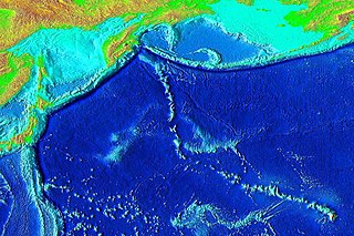 An underwater mountain range from the southern tier of the Japan Trench to the Hawaiian Islands