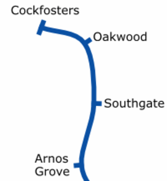 London Borough of Enfield - London Underground services in Enfield at the eastern end of the Piccadilly line