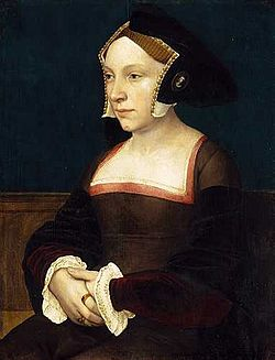 Portrait of an English Lady, ca. 1533–1536 by Hans Holbein der Jüngere in oil and tempera on oak.