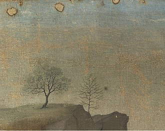 The Entombment (Bouts) - Detail showing distant hillside landscape in the left-hand corner. The nail holes are visible here in the skyline, and extend across the top of the painting. Note the layer of dirt across the midground and the black spot to the right of the second tree.