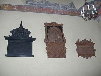 Jan Kochanowski - Kochanowski family epitaphs at Zwoleń church. The poet's is at center.