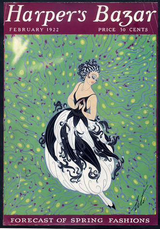 Erté - Erté cover for  Harper's Bazar February 1922.