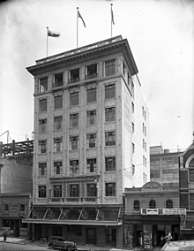 Blundell Bros Limited Head Office Willis Street Wellington 1928 Printing and publishing is in the linked building at the rear fronting onto Boulcott Street Evening Post building, Willis Street, 1928.jpg
