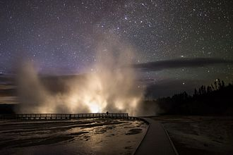 Geothermal areas of Yellowstone - Excelsior Geyser at night, Midway Geyser Basin