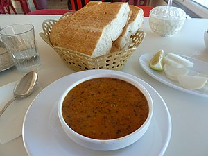 Ezogelin soup, bread, and water.jpg