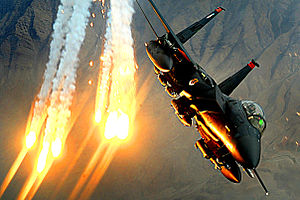 366th Fighter Wing - An F-15E Strike Eagle from the 391st Expeditionary Fighter Squadron of the 366th Fighter Wing at Bagram Air Base, Afghanistan, launches heat decoys during a close-air-support mission over Afghanistan, 15 December 2008.