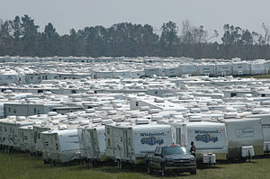 English: Purvis, Miss., September, 13, 2005 -- Travel trailers are being staged in Purvis, Miss. Travel trailers are used by FEMA for temporary housing in some disaster areas. FEMA/Mark Wolfe.