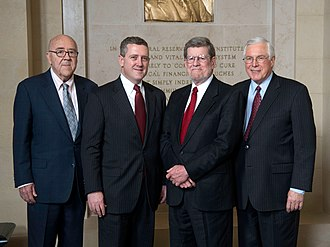 Federal Reserve Bank of St. Louis - Bank presidents (left to right) Theodore Roberts (1983–1984), James Bullard (2008–present), William Poole (1998–2008), and Thomas Melzer (1985–1998)