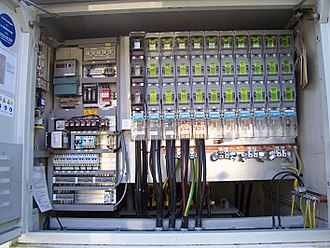 Low-voltage network - Low-voltage side switching cabinet of a European MV/LV substation. Four LV cable feeders equipped with circuit breakers featured.