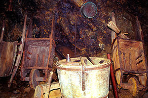 Falun Mine - Wheelbarrows and other tools used for mining.