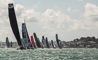 Fastnet Race - Yachts racing off Cowes at the start of the 2017 Fastnet Race.