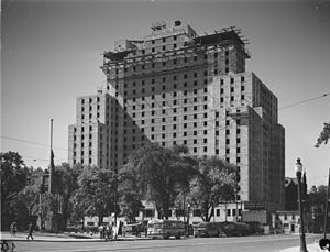 Laurentian Hotel - The Laurentian Hotel during its construction in 1947