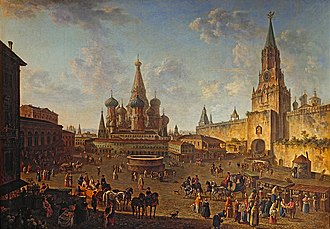 Fyodor Alekseyev - Red Square in Moscow, 1801