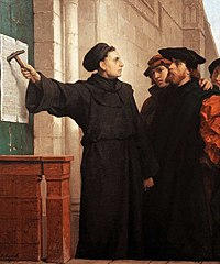 Ferdinand Pauwels - Luther hammers his 95 theses to the door