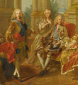 Fernando, Prince of Asturias, Louise Élisabeth of France, and King Philip V of Spain (detail of portrait by Louis Michel van Loo).png