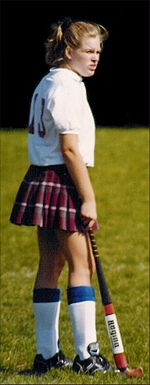 A college-level field hockey player