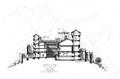 Fig 135, castello di Fenis alla fine del secolo XV, sezione, disegno Nigra.tiff