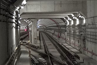 Finch West station - The still-clean tunnels and centre storage track (visible at left) north of the station a few days after the TYSSE opened in December 2017