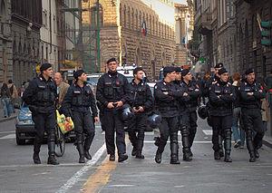 Gendarmerie - Members of Italy's gendarmerie, the Carabinieri, on public order duties in Florence